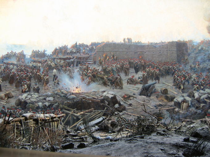 Detail of Franz Roubaud's panoramic painting The Siege of Sevastopol (1904). It depicts a chaotic battlefield, focusing on the Russian solders defending their position.