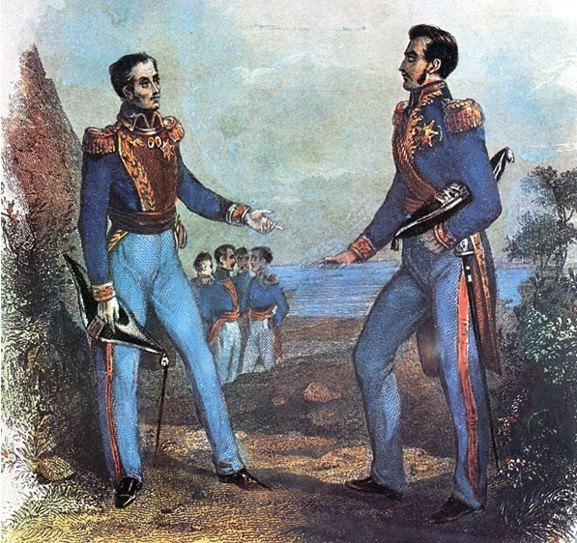 A painting of the conference between Simón Bolívar and José de San Martín. The real conference took place inside an office, and not in the countryside as the portrait suggests.
