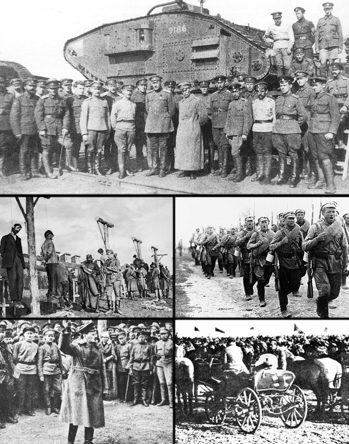 Clockwise from top: Soldiers of the Don Army in 1919; a White Russian infantry division in March 1920; soldiers of the 1st Cavalry Army; Leon Trotsky in 1918; hanging of workers in Yekaterinoslav by Austro-Hungarian troups, April 1918.