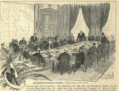 The drawing depicts several dozen men around a large table, with a large map of Africa posted on the wall.
