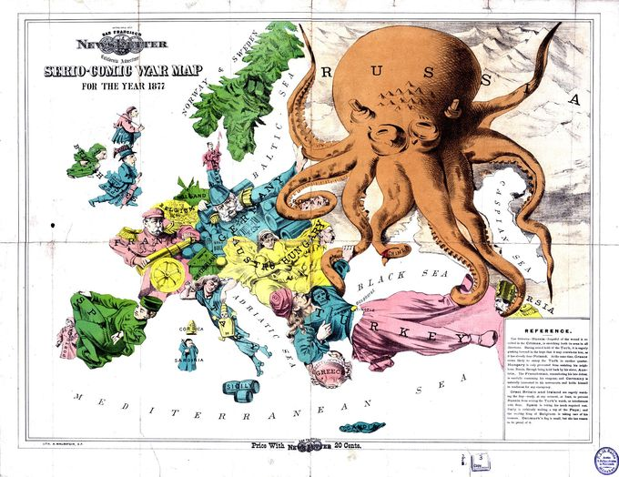 """The Russian menace: a Serio-Comic War Map for the Year 1877"" an English cartoon from 1877 showing Russia as a monstrous octopus devouring neighbouring lands, especially the Ottoman Empire."