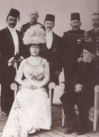 Gathering of Egyptian, Turkish and British royalty in 1911. Queen Mary seated and King George V standing at extreme right.