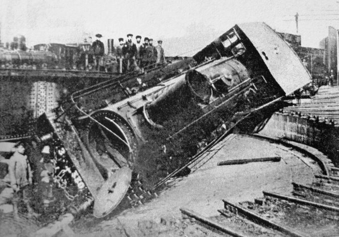 A locomotive overturned by striking workers at the main railway depot in Tiflis in 1905
