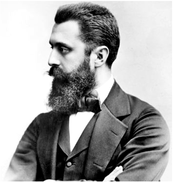A photo of the profile of Theodore Herzl.