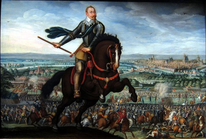 A painting of Gustav of Sweden riding a horse on a hill overlooking a battlefield and countryside.