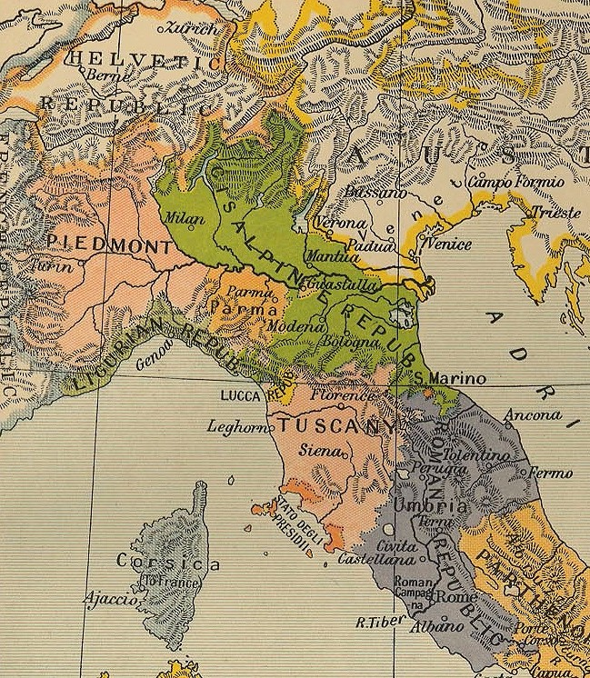 The maps shows that the Cisalpine Republic was made up of Lombardy, Emilia Romagna, and small parts of Tuscany and Veneto, all of which are regions of modern-day northern Italy.