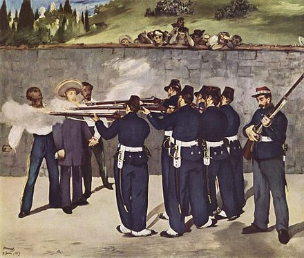 The painting shows a group of military men in uniform firing rifles at Maximilian and two other men.