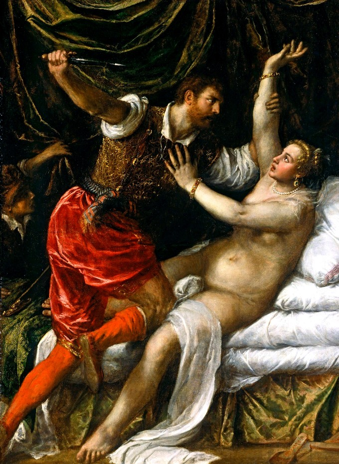 Titian's painting shows Tarquinius attacking Lucretia, who is naked in her bed. Tarquinius clutches Lucretia's right arm with his left hand while wielding a dagger in his right hand.