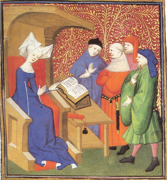 A painting of Christine de Pizan seated before an open book lecturing four men below her.