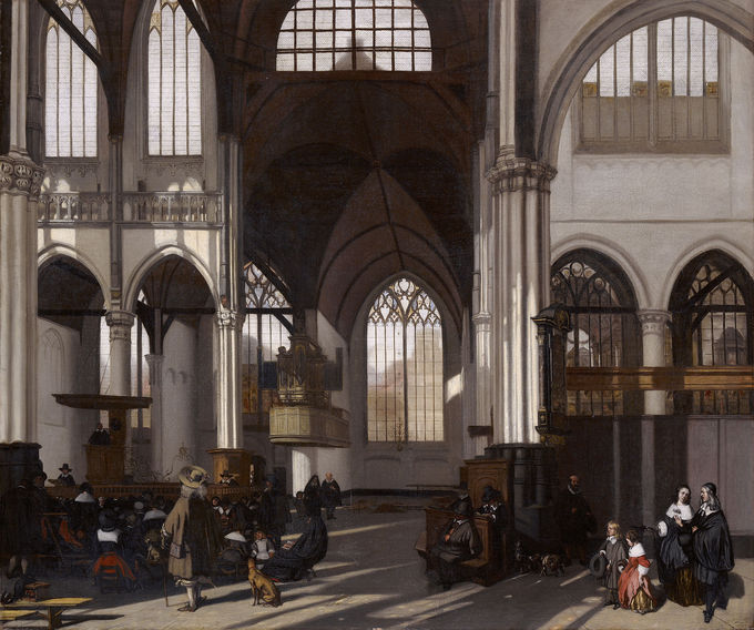 Painting of the interior of a Calvinist church, which is characterized by large, arching windows and the lack of religious objects or symbols.