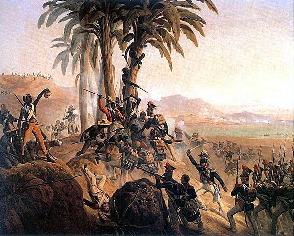 The battle takes place of a small hill covered in palm trees. One black soldier holds the severed head of a white soldier.