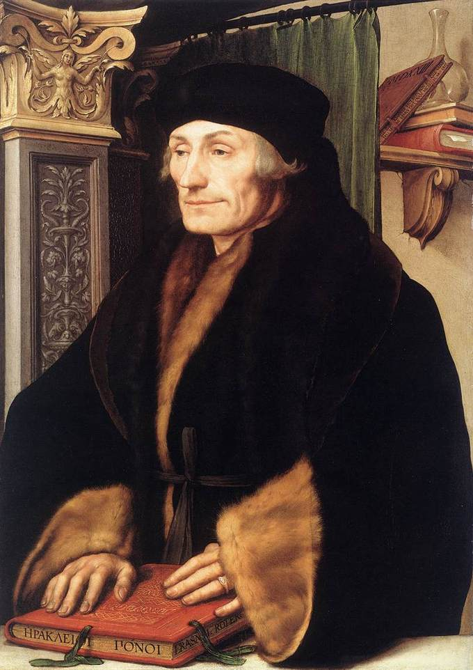 A portrait of Erasmus indoors, placing his hands on a red book.