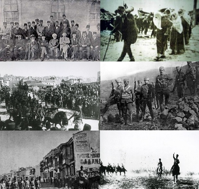 Clockwise from top left: Delegation gathered in Sivas Congress to determine the objectives of the National Struggle; Turkish people carrying ammunition to the front; Kuva-yi Milliye infantry; Turkish horse cavalry in chase; The Turkish army entering Izmir; last troops gathered in Ankara Ulus Square leaving for the front.