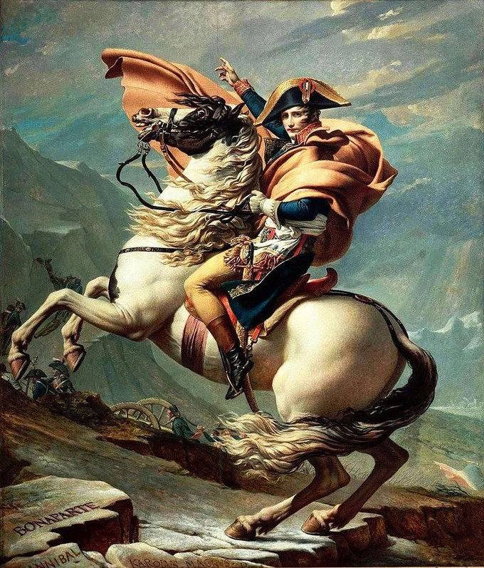 In one of the famous paintings of Napoleon, the Consul and his army are depicted crossing the Swiss Alps on their way to Italy. The daring maneuver surprised the Austrians and forced a decisive engagement at Marengo in June 1800. Victory there allowed Napoleon to strengthen his political position back in France.