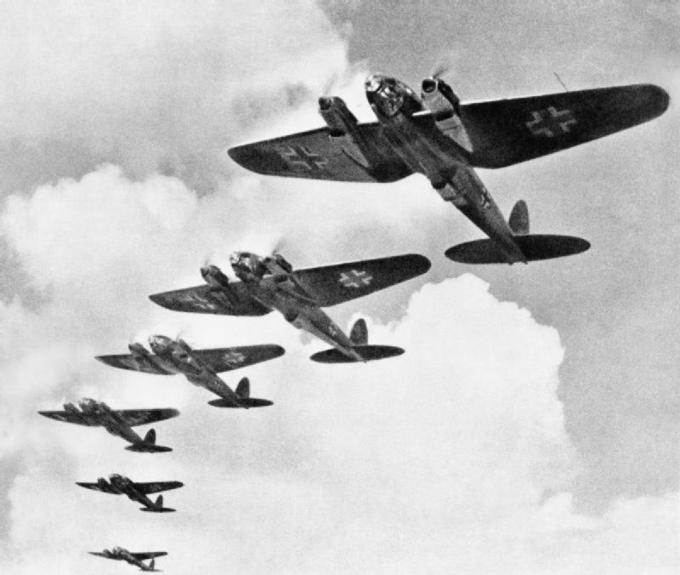 Photo of six Nazi planes in flight during the Battle of Britain.