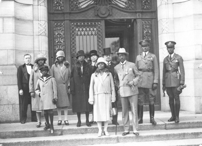 Charles D. B. King, 17th President of Liberia (1920-1930), with his entourage on the steps of the Peace Palace, The Hague (the Netherlands), 1927.
