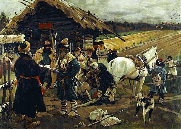 The painting shows several peasants with their belongings packed onto a cart tied to a horse, standing by a small house. A large farm field is shown in the background.