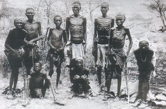 A photo of emaciated survivors of the German genocide against Herero after an escape through the arid desert of Omaheke.