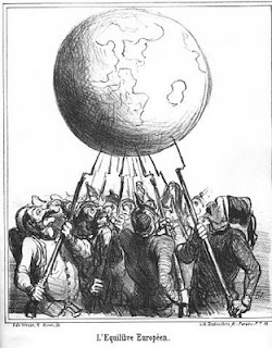 An image of a cartoon by Honore Daumier, L'Equilibre Europea, that depicts many people holding up the globe with bayonets.