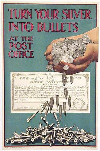 The poster depicts a pair of hands full of silver coins transforming into bullets as the hands dump them out.