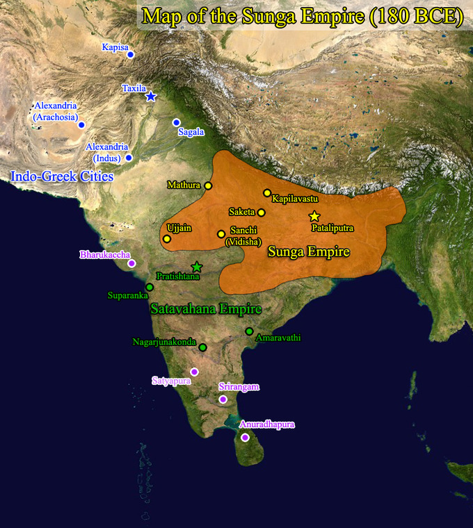 The map shows that the Shunga Empire covered portions of modern-day northeast India, as well as portions of modern-day Bangladesh and Nepal.
