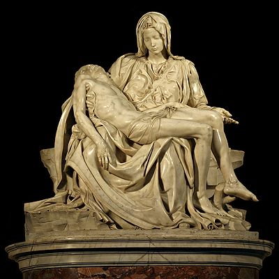 A photo of Michelangelo's Pieta, a statue depicting Mary holding the dead body of Jesus.