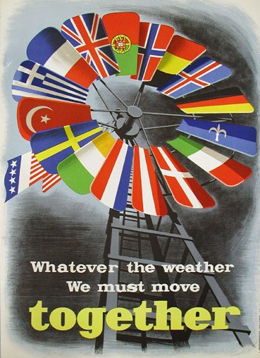 An image of a Cold War era poster in support of the Marshall Plan. It depicts a weather vane, each blade of which is a European nation's flag, with the American flag being the tail that orients the direction of the vane.
