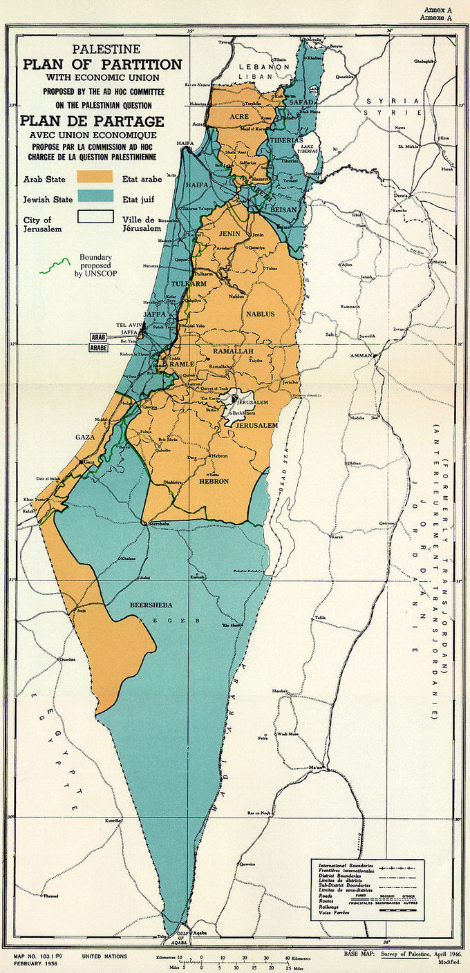 The proposed plan divided Palestine into three parts: an Arab State, a Jewish State and the City of Jerusalem, linked by extraterritorial crossroads. The proposed Arab State would include the central and part of western Galilee, with the town of Acre, the hill country of Samaria and Judea, an enclave at Jaffa, and the southern coast stretching from north of Isdud (now Ashdod) and encompassing what is now the Gaza Strip, with a section of desert along the Egyptian border. The proposed Jewish State would include the fertile Eastern Galilee, the Coastal Plain, stretching from Haifa to Rehovot and most of the Negev desert, including the southern outpost of Umm Rashrash (now Eilat). The Jerusalem Corpus Separatum included Bethlehem and the surrounding areas.