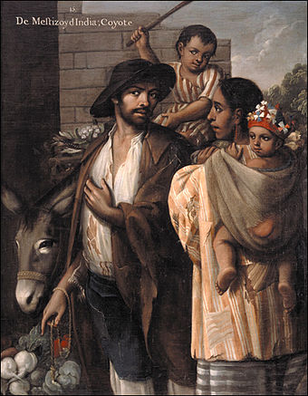 A painting of a Mestizo man with his Indian wife, along with their children, one of which is riding a donkey.