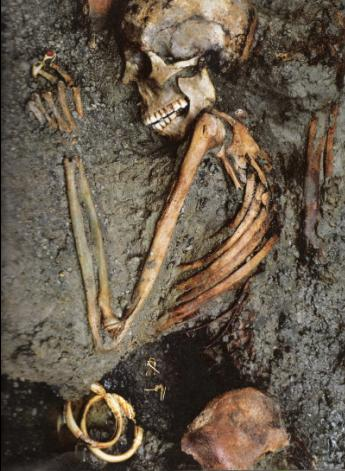An image of a skeleton in ash preserved after the eruption of Mount Vesuvius.
