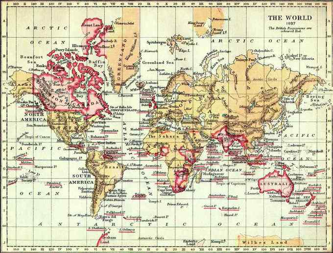 The map shows that the British Empire in 1897 included (but was not limited to) the Dominion of Canada; a portion of Greenland; territories in western, eastern, and southern Africa; India; Burma; Papua New Guinea; Australia; New Zealand; and a large number of island nations in the Pacific, Atlantic, and Indian Oceans.
