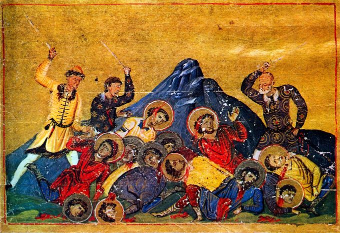 A Byzantine painting of Bulgarians fighting with Byzantines, who have halos on their head. It appears that the Bulgarians are winning.