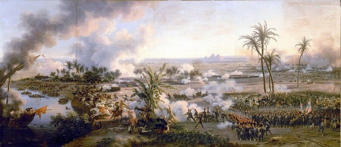 The painting shows a wide perspective of the Battle of the Pyramids. In addition to the Egyptian and French armies, the painting shows the river, palm trees, gun smoke, and the pyramids in the distance.