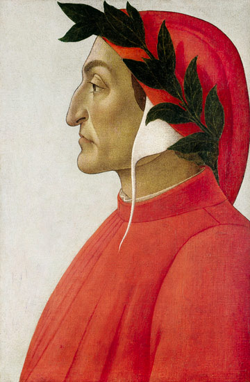 Head-and-chest side portrait of Dante in red and white coat and cowl.