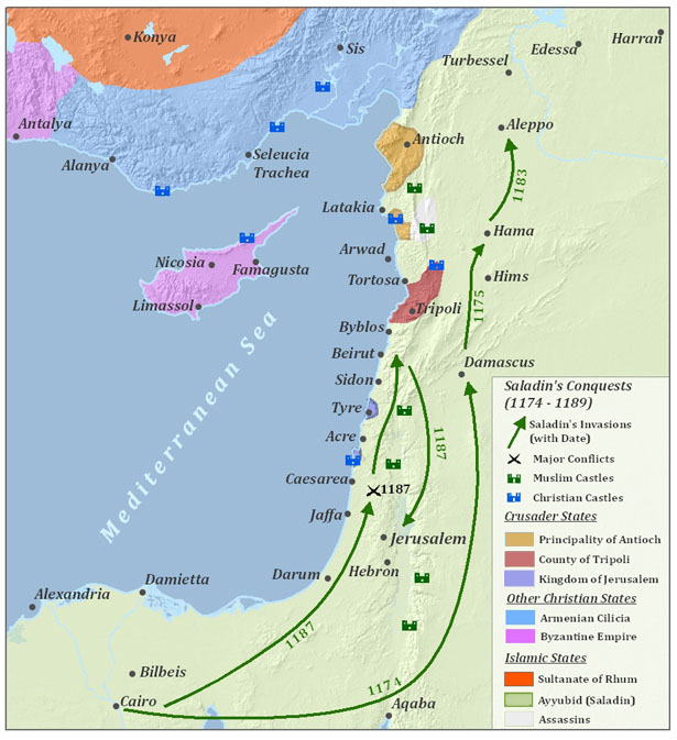 The map shows a series of invasions by Saladin in 1174, 1175, 1184, and 1187. In 1174, he moved north from Cairo to Damascus. In 1175 he moved farther north from Damascus to Hama. In 1183, he moved even farther north from Hama to Aleppo. In 1187, he moved from Cairo to an area northeast of Jaffa, where the map shows there was a major conflict. The same year, he moved north to Beirut, and then south to Jerusalem.