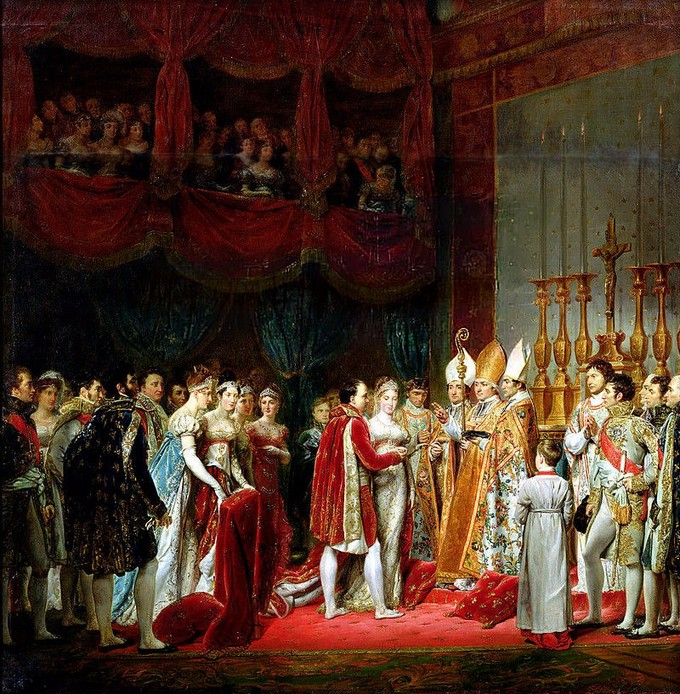 Painting of the marriage ceremony of Napoleon I, Emperor of France, and Archduchess Marie Louise of Austria, eldest daughter of Emperor Franz I. of Austria, held in the Louvre chapel, 2 April 1810.