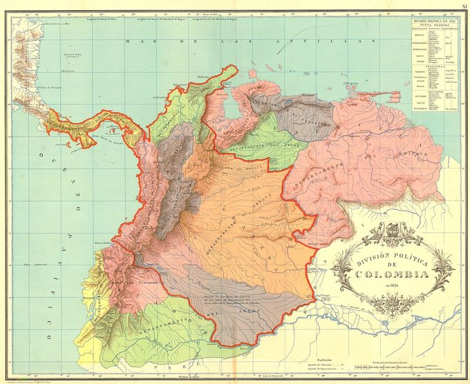 A map of Gran Colombia showing the 12 departments created in 1824 and territories disputed with neighboring countries