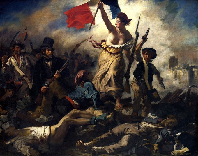 Liberty Leading the People is a painting by Eugène Delacroix commemorating the July Revolution of 1830, which toppled King Charles X of France. A woman personifying the concept and the Goddess of Liberty leads the people forward over the bodies of the fallen, holding the flag of the French Revolution – the tricolour flag, which remains France's national flag – in one hand and brandishing a bayonetted musket with the other. The figure of Liberty is also viewed as a symbol of France and the French Republic known as Marianne.