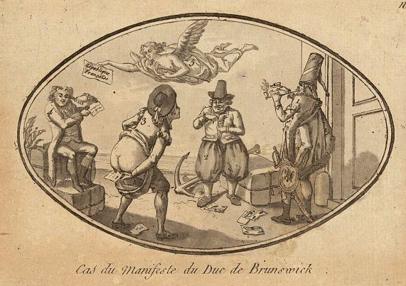 "The print shows four figures representing foreign nations responding unfavorably to the manifesto issued by the Duke of Brunswick and Lüneburg on July 25 1792. One figure smokes it, another uses it as toilet paper, etc. A fifth figure representing Fame (an angel with trumpet) flies overhead holding a sign labeled ""République Française."""