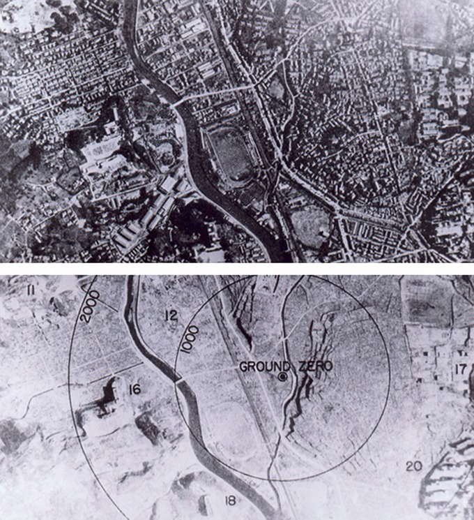 Images of Nagasaki before and after the atomic bomb explosion. The first image shows a populated city, full of buildings, and the second a stretch of land with only a few buildings.
