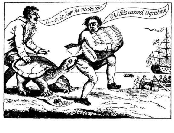 """A turtle named """"Ograbme"""" (""""Embargo"""" spelled backward) bites a merchant/smuggler."""
