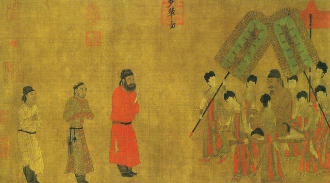 Painting of Emperor Taizong, surrounded by women fanning him, receiving three Tibetan men at his court.