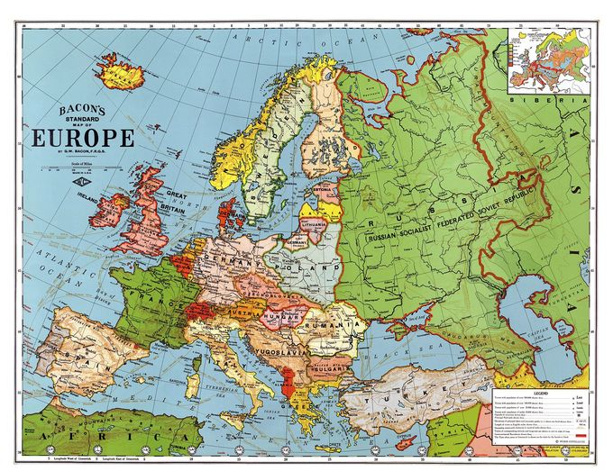 Map of Europe in 1923, showing the many new states created after the end of World War I.