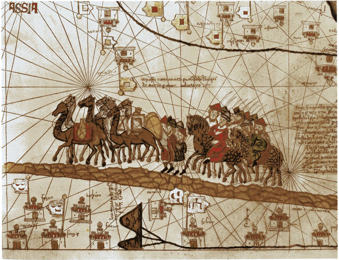 An image of a map of Asia with a painting of Europeans on horses alongside camels, traveling the Silk Road.