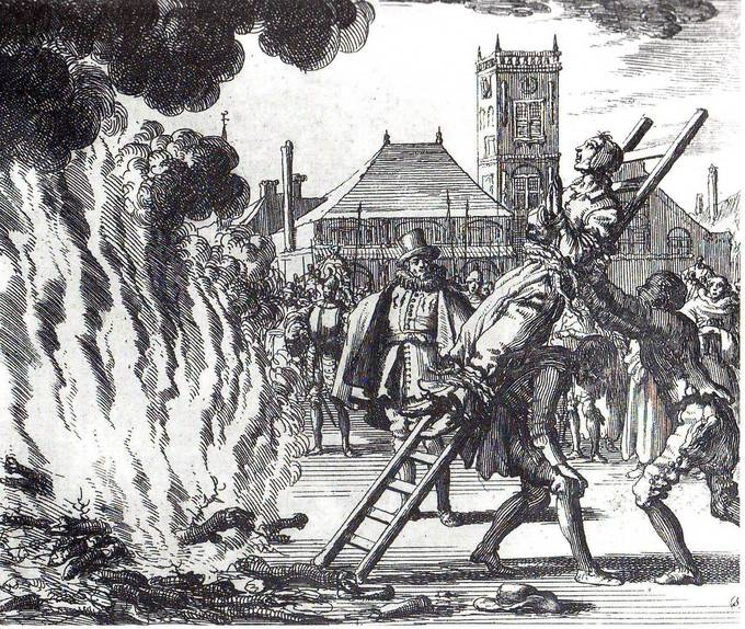 An etching of the burning of an Anabaptist, shown tied to a ladder, being thrown into a large bonfire in a town square.