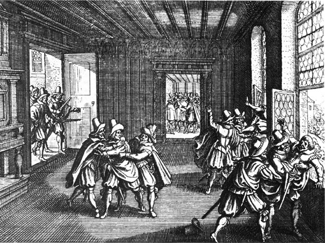 A woodcut of the Defenestrations of Prague, depicting several men tossing another man out of a window to the right and other men around the room pushing others toward the windows.