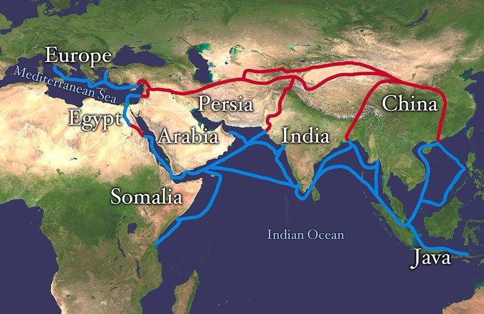 The trade routes connected Europe, Egypt, Somalia, Arabia, Persia, India, China, and Java.