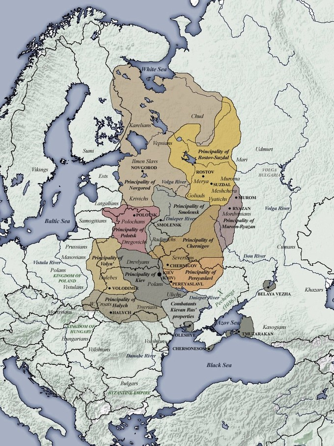 The map shows eleven principalities covering a large stretch of land including portions of modern-day Sweden, Finland, Latvia, Lithuania, Poland, Slovakia, Belarus, Romania, Maldova, Ukraine, and Russia.