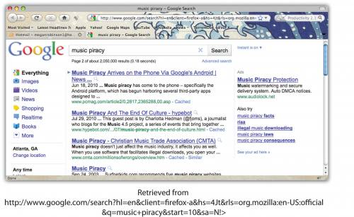 A screenshot of a google search of 'music piracy.'