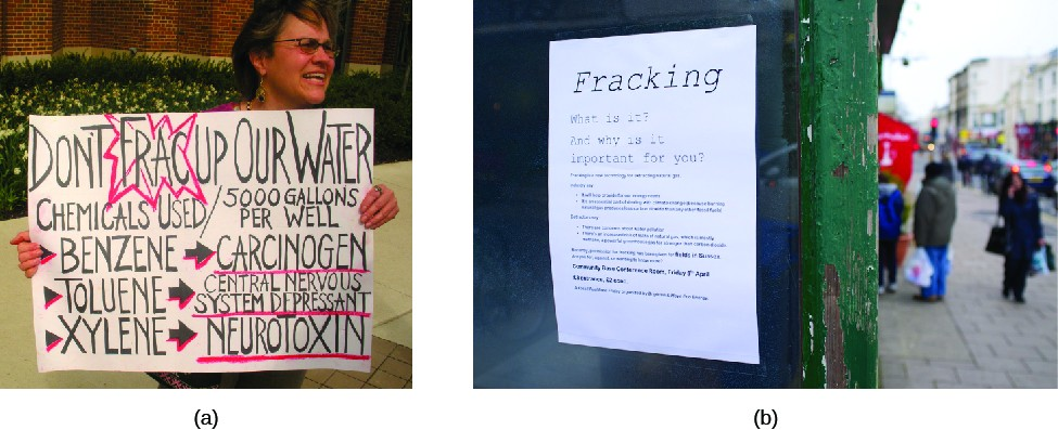 Image A is of a person holding a sign. The sign reads